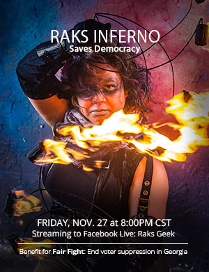 Show poster: Raks Inferno Saves Democracy - Filipina firespinner with a defiant look